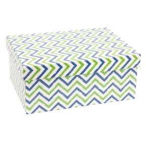 Dárková krabice s víkem 350x250x150/40 mm, VZOR - CIK CAK zelená/modrá