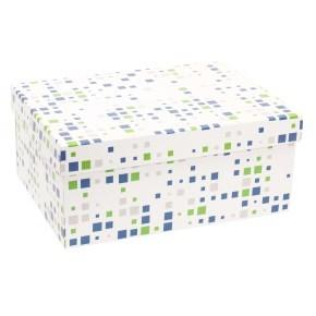 Dárková krabice s víkem 350x250x150/40 mm, VZOR - KOSTKY zelená/modrá