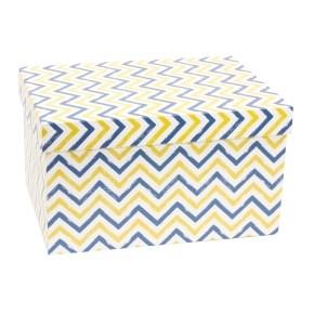 Dárková krabice s víkem 350x250x200/40 mm, VZOR - CIK CAK modrá/žlutá