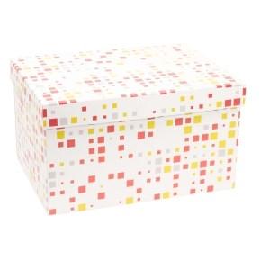 Dárková krabice s víkem 350x250x200/40 mm, VZOR - KOSTKY korálová/žlutá