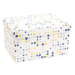 Dárková krabice s víkem 350x250x200/40 mm, VZOR - KOSTKY modrá/žlutá