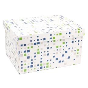 Dárková krabice s víkem 350x250x200/40 mm, VZOR - KOSTKY zelená/modrá
