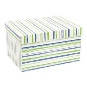Dárková krabice s víkem 350x250x200/40 mm, VZOR - PRUHY zelená/modrá