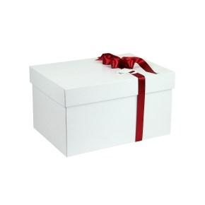 Dárková krabice s víkem 350x250x200 mm, bílo/bílá