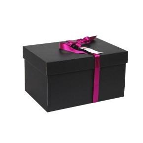 Dárková krabice s víkem 350x250x200 mm, černošedá matná