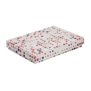 Dárková krabice s víkem 350x250x50/40 mm, VZOR - KOSTKY fialová/korálová