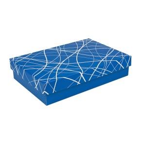 Dárková krabice s víkem 355x250x80/35mm, modrá se vzorem na víku