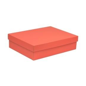 Dárková krabice s víkem 400x300x100/40 mm, korálová