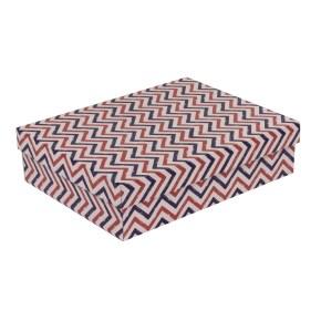 Dárková krabice s víkem 400x300x100/40 mm, VZOR - CIK CAK fialová/korálová