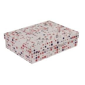 Dárková krabice s víkem 400x300x100/40 mm, VZOR - KOSTKY fialová/korálová