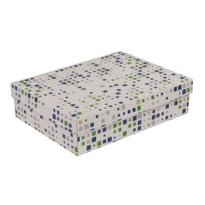 Dárková krabice s víkem 400x300x100/40 mm, VZOR - KOSTKY zelená/modrá
