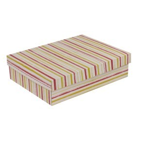 Dárková krabice s víkem 400x300x100/40 mm, VZOR - PRUHY korálová/žlutá