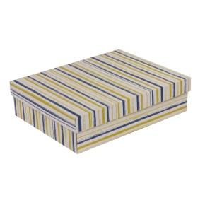 Dárková krabice s víkem 400x300x100/40 mm, VZOR - PRUHY modrá/žlutá