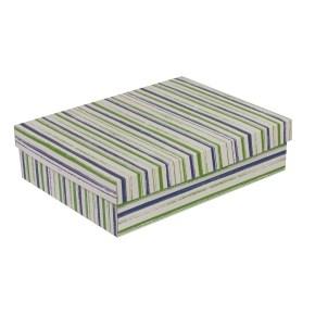 Dárková krabice s víkem 400x300x100/40 mm, VZOR - PRUHY zelená/modrá