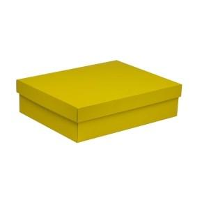 Dárková krabice s víkem 400x300x100/40 mm, žlutá