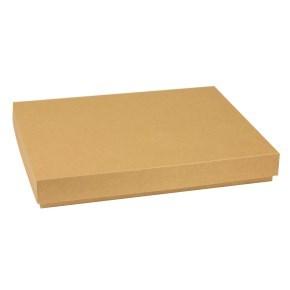 Dárková krabice s víkem 400x300x50/40 mm, hnědá - kraftová