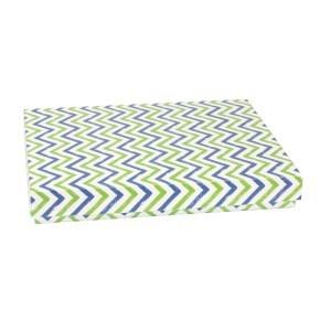 Dárková krabice s víkem 400x300x50/40 mm, VZOR - CIK CAK zelená/modrá