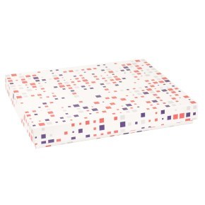 Dárková krabice s víkem 400x300x50/40 mm, VZOR - KOSTKY fialová/korálová