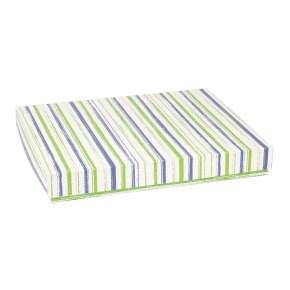 Dárková krabice s víkem 400x300x50/40 mm, VZOR - PRUHY zelená/modrá