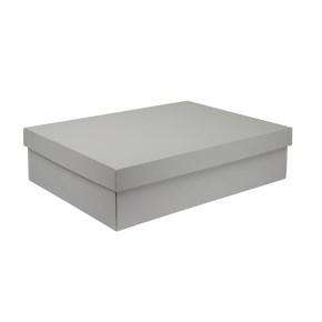 Dárková krabice s víkem 405x290x100/35 mm, šedá matná