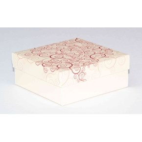Dárková krabička 110x110x45 mm, dekor 142, krémové dno
