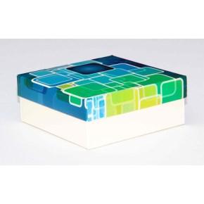 Dárková krabička 110x110x45 mm, dekor 143, krémové dno