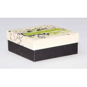 Dárková krabička 110x110x45 mm, dekor 144, černé dno