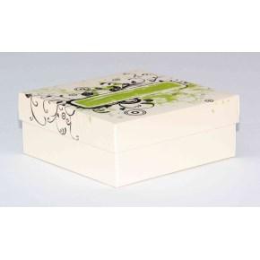 Dárková krabička 110x110x45 mm, dekor 144, krémové dno