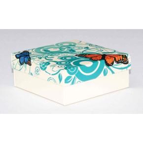 Dárková krabička 110x110x45 mm, dekor 145, krémové dno