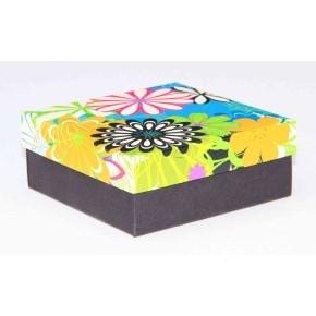 Dárková krabička 110x110x45 mm, dekor 146, černé dno