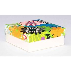 Dárková krabička 110x110x45 mm, dekor 146, krémové dno