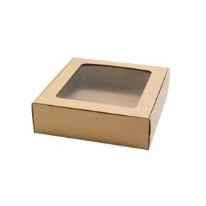 Dárková krabička 200x195x60 mm, HH výsek s průhledným okénkem