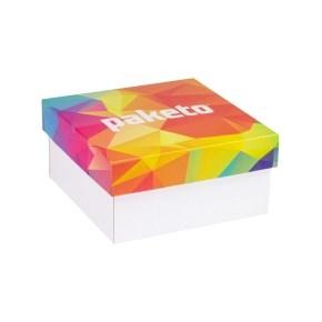 Dárková krabička 200x200x100/40 mm, celopotisk víka, bílá