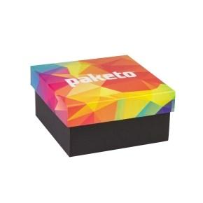 Dárková krabička 200x200x100/40 mm, celopotisk víka, černá