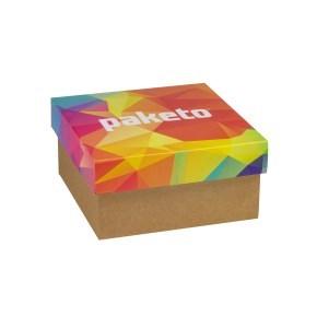 Dárková krabička 200x200x100/40 mm, celopotisk víka, kraftová