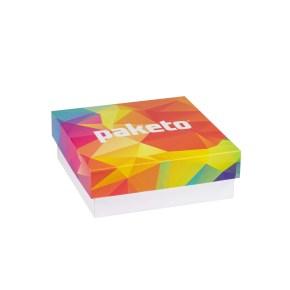 Dárková krabička 200x200x70/40 mm, celopotisk víka, bílá