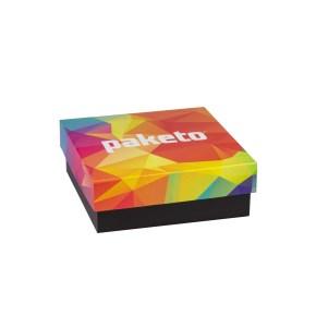 Dárková krabička 200x200x70/40 mm, celopotisk víka, černá