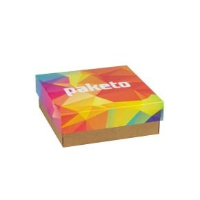 Dárková krabička 200x200x70/40 mm, celopotisk víka, kraftová