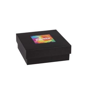 Dárková krabička 200x200x70/40 mm, tisk na víko 100x100 mm, černá