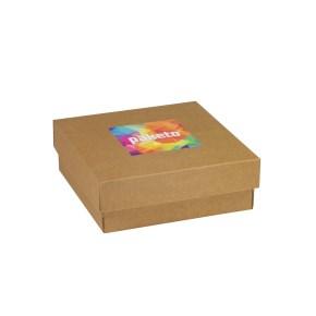 Dárková krabička 200x200x70/40 mm, tisk na víko 100x100 mm, kraftová