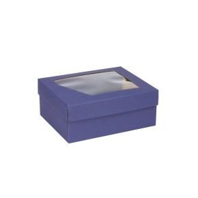 Dárková krabička 240x180x95 mm, dno+víko s průhledným okénkem, MODRÁ