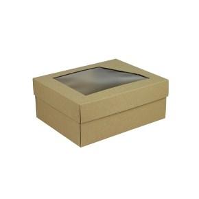 Dárková krabička 240x180x95 mm, dno+víko s průhledným okénkem, přírodní