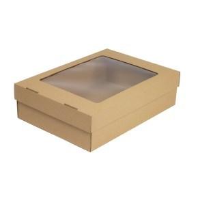 Dárková krabička 330x230x90/40 mm, dno+víko s průhledným okénkem, kraftová - hnědá