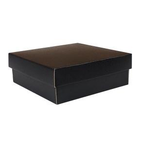 Dárková krabička KOMPLET 200x200x70/35, černo šedá matná