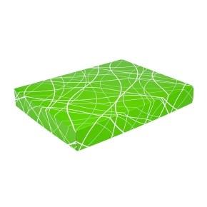 Dárková krabička na košile 380x285x50/35 mm, zelená se vzorem na víku