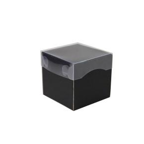 Dárková krabička s průhledným víkem 100x100x100/35 mm, černo šedá matná
