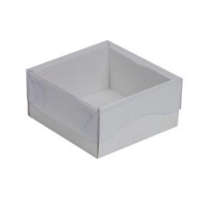 Dárková krabička s průhledným víkem 100x100x50/35 mm, bílá