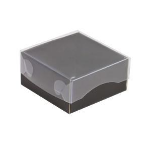 Dárková krabička s průhledným víkem 100x100x50/35 mm, černá