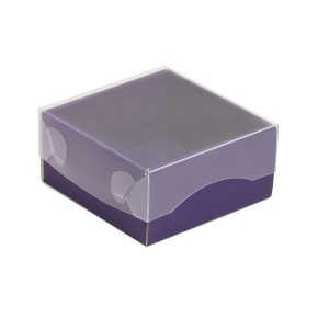 Dárková krabička s průhledným víkem 100x100x50/35 mm, fialová