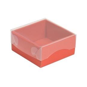 Dárková krabička s průhledným víkem 100x100x50/35 mm, korálová
